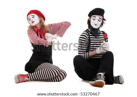 portrait of mimes. broken heart. isolated on white background - stock photo
