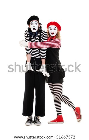 portrait of mimes. happy woman embracing man. isolated on white background - stock photo