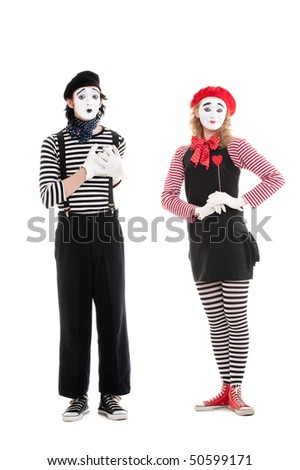 portrait of mimes. loving couple. isolated on white background - stock photo