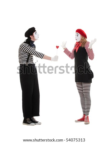 portrait of mimes. man giving small red heart to amazed woman. isolated on white background - stock photo