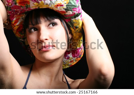 Portrait of model with cowboy hat - stock photo