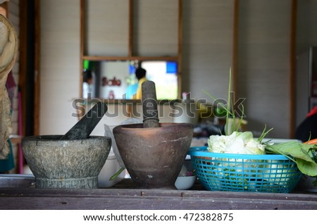 portrait of Mortar and pestle in thai kitchen in thailand