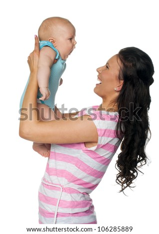 Portrait of mother and baby isolated on white background - stock photo