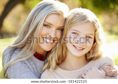 Portrait Of Mother And Daughter In Countryside - stock photo