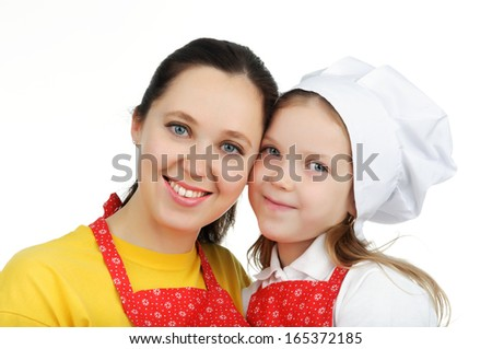 Portrait of mother and daughter looking in camera. - stock photo
