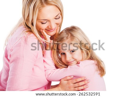 Portrait of mother and little daughter. Motherhood concept