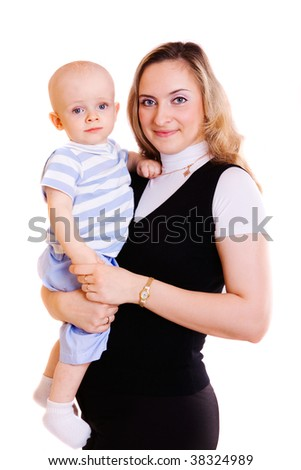 portrait of mother with baby isolated on white background