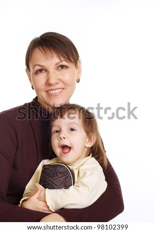 portrait of mother with her beautiful daughter
