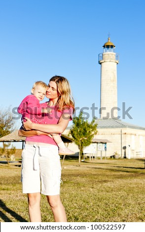 portrait of mother with her little daughter, Richard Lighthouse, Aquitaine, France