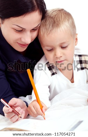 Portrait of mother with son drawing isolated on a white