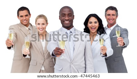 Portrait of multi-cultural business team drinking champagne against a white background - stock photo
