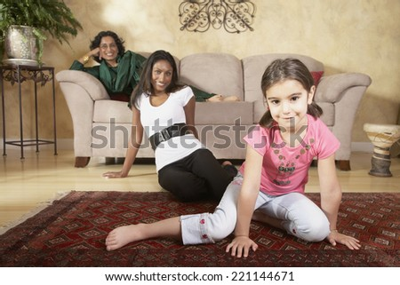 Portrait of multi-generational Indian female family members - stock photo