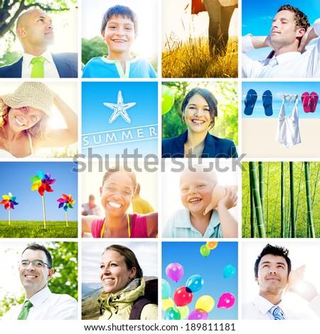 Portrait of Multiethnic Diverse Cheerful People - stock photo