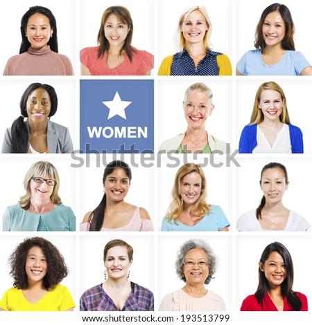 Portrait of Multiethnic Diverse Cheerful Women - stock photo