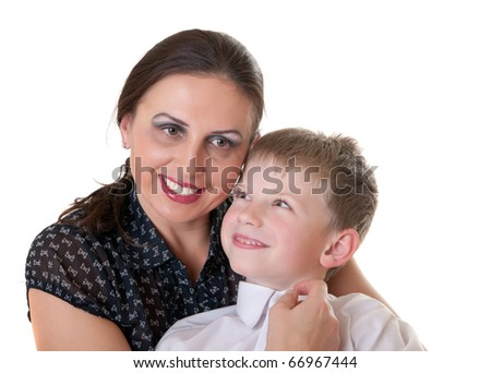 Portrait of mum with the son, isolated