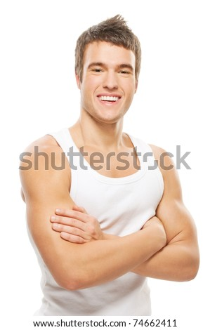 portrait of muscular athlete man closing hands on chest on white - stock photo