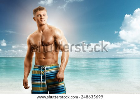 Portrait of muscular fitness model man  - stock photo