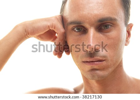 Portrait of muscular man isolated on white - stock photo