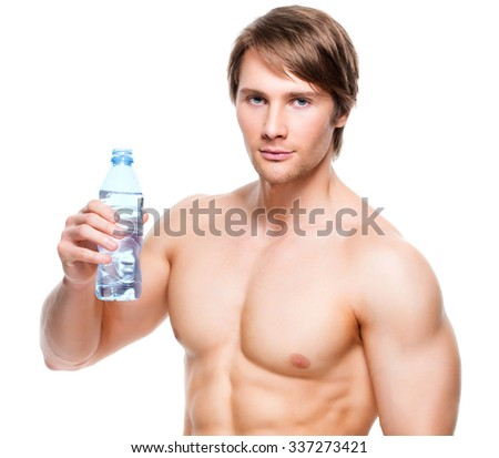 Portrait of muscular shirtless sportsman holds water - isolated on white background. - stock photo