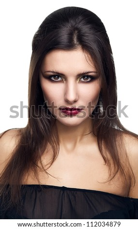 portrait of mystic woman on white background - stock photo
