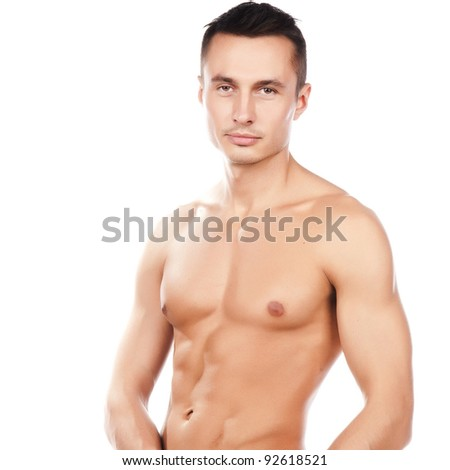 portrait of naked attractive positive young caucasian man, face and torso of young beauty man, smiledcaucasian sportsman, perfect man body, isolated on white background image - stock photo