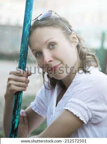 Portrait of naturally beautiful women in the countryside. - stock photo