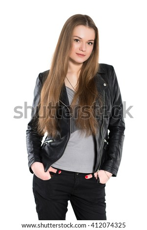 Portrait of nice woman posing in black jacket. Isolated on white - stock photo