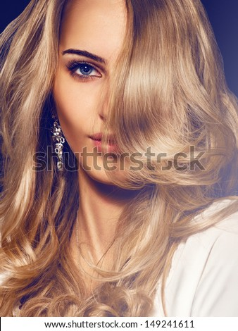 Portrait of nice young adult blonde - stock photo