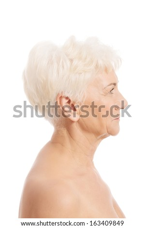 Portrait of nude old woman- head and shoulders. isolated on white. - stock photo