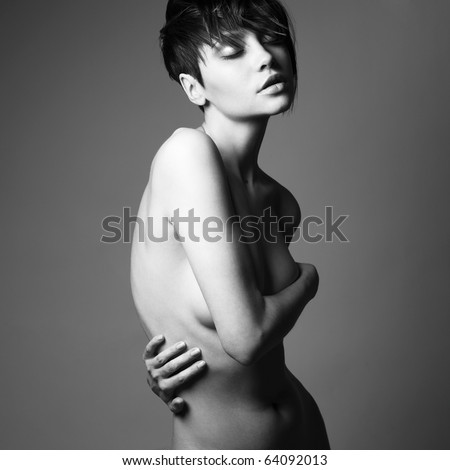 Portrait of nude sensual woman with elegant hairstyle - stock photo