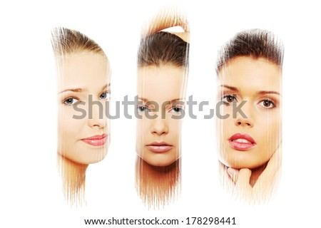 Portrait of of sexy caucasian young women  isolated over white. Body care concept - stock photo
