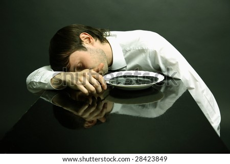 Portrait of office manager poisoning petroleum - stock photo