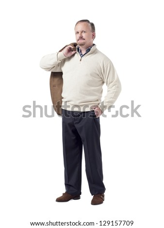 Portrait of old businessman standing against white background
