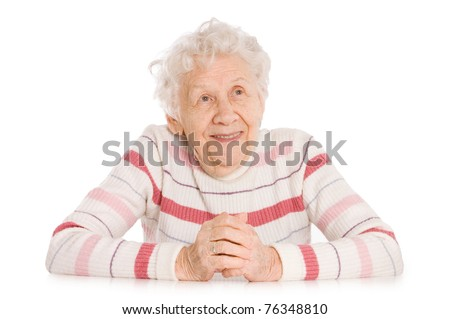 Portrait of old elderly woman isolated on white - stock photo
