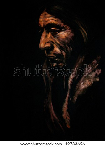 Portrait of old Indian men acrylic painted.Picture I have created myself. - stock photo