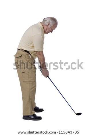 Portrait of old male golfer against white background - stock photo