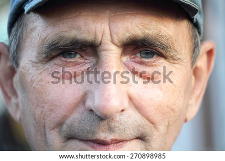portrait of old man, close up  - stock photo
