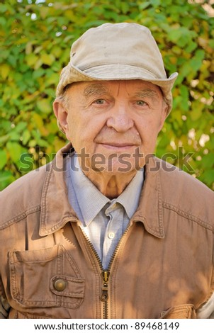 portrait of old man in garden