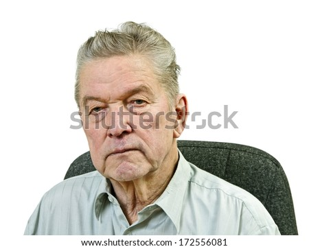 Portrait of old man on white background.