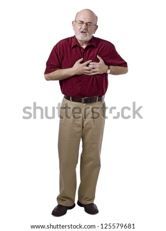 Portrait of old man suffering heart ache against white background - stock photo