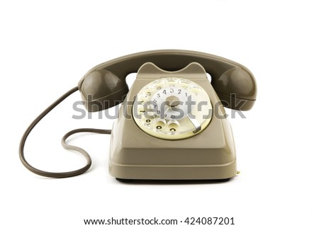 portrait of old - vintage telephone in white background / isolated vintage italian telephone