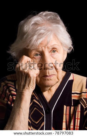 Portrait of old woman a black - stock photo
