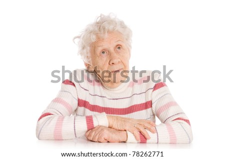 Portrait of old woman isolated - stock photo