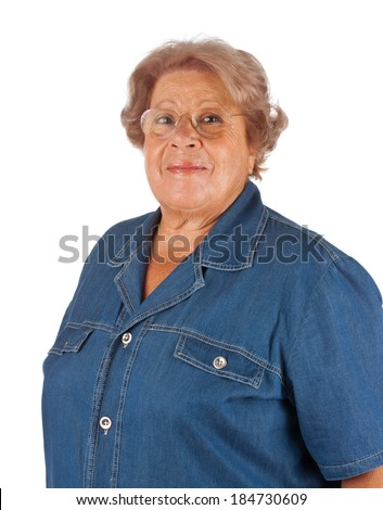 Portrait of old woman isolated on white background - stock photo