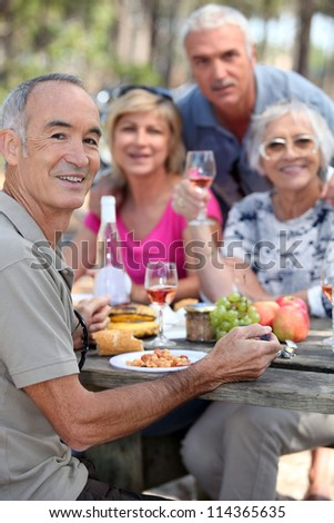 portrait of older people at picnic - stock photo