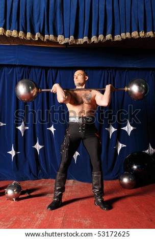 Portrait of one-eyed circus athlete. Photo. - stock photo