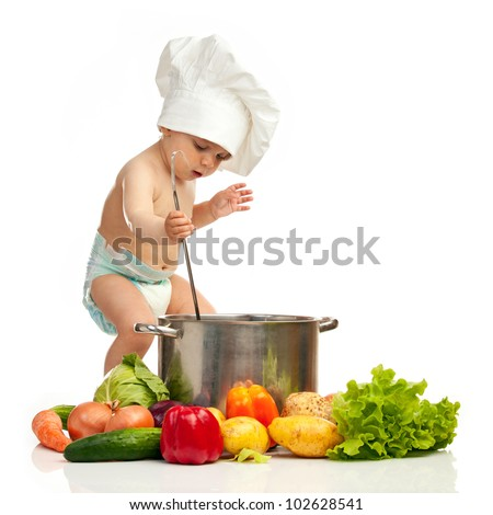 ... , casserole, and fresh vegetables over white background - stock photo