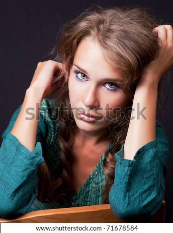 Portrait of one young beautiful woman - stock photo