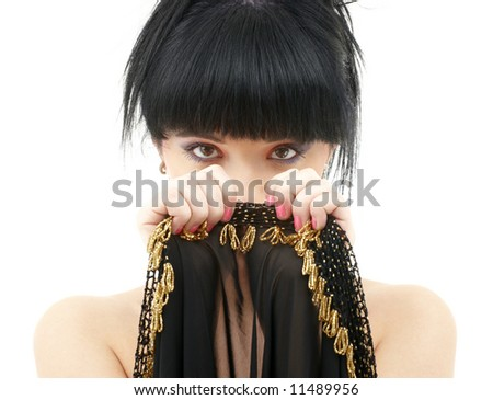 portrait of oriental girl with black and gold cloth - stock photo