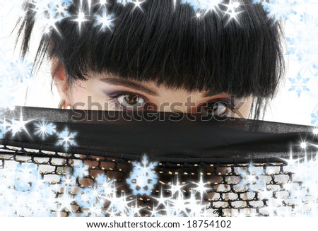 portrait of oriental girl with black fishnet cloth - stock photo